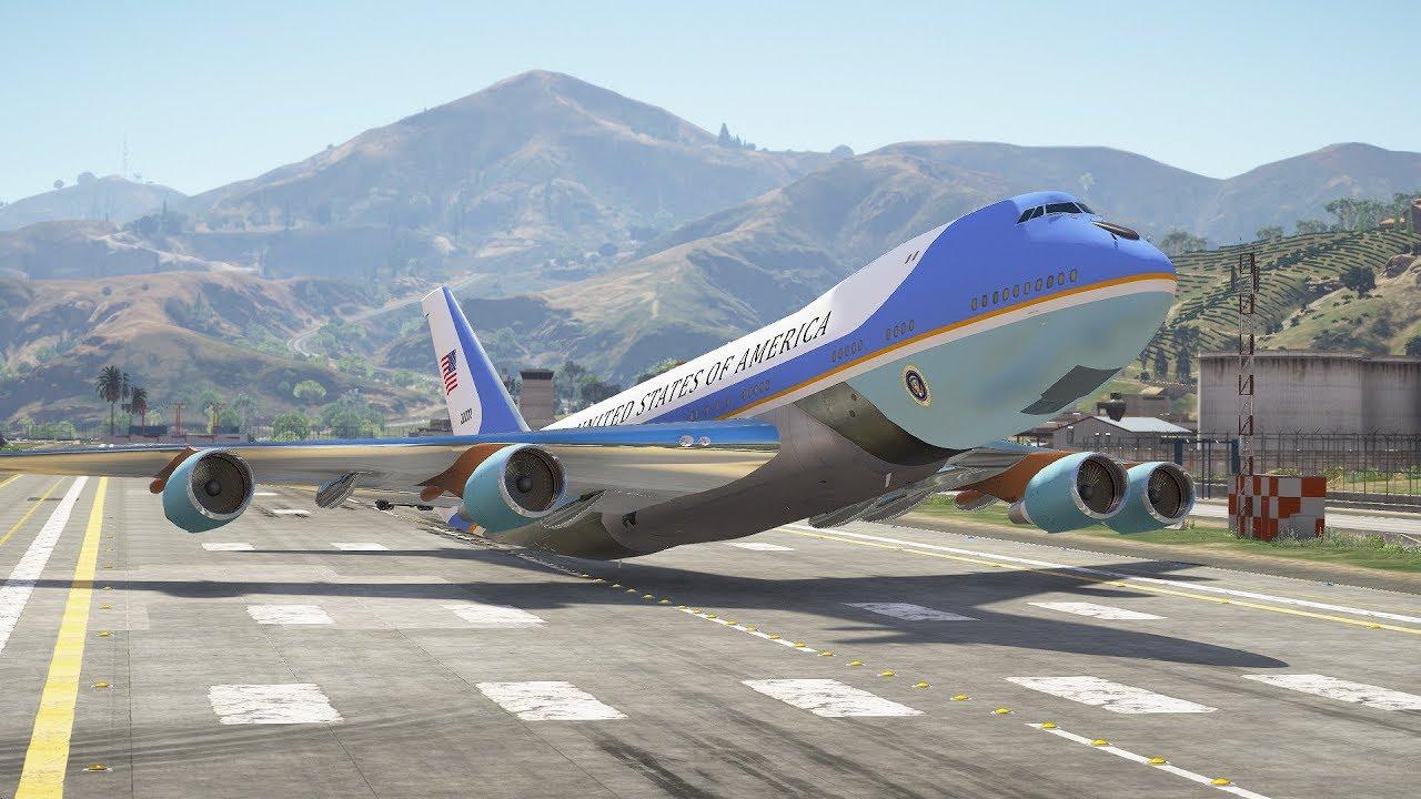 Boeing VC-25 (747) Emergency Landing Without Landing Gears | GTA 5 - YouTube
