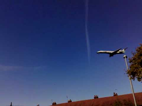 Small Flybe Jet Landing At Manchester Airport