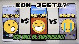 Redmi Note 6 Pro VS Honor 8X VS Note 5 Pro Honest Comparison, Kisme Hai Sabse Zada Dum? 😱⚡🔥