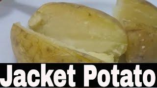 jacket potato and gravy traditional British food jacket potato in microwave