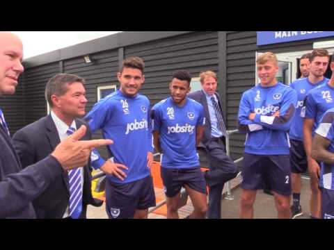Michael Eisner meets the Pompey squad for the first time