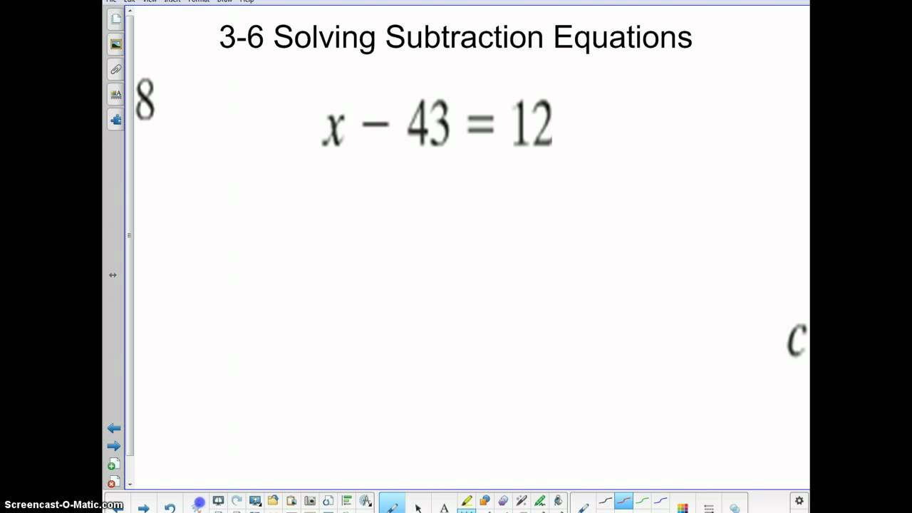 6th Grade Math TBMS 3-6 Solving Subtraction Equations ...