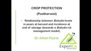 19 Relationship between quantified Botrytis cinerea levels in pear fruit at harvest and the Botrytis