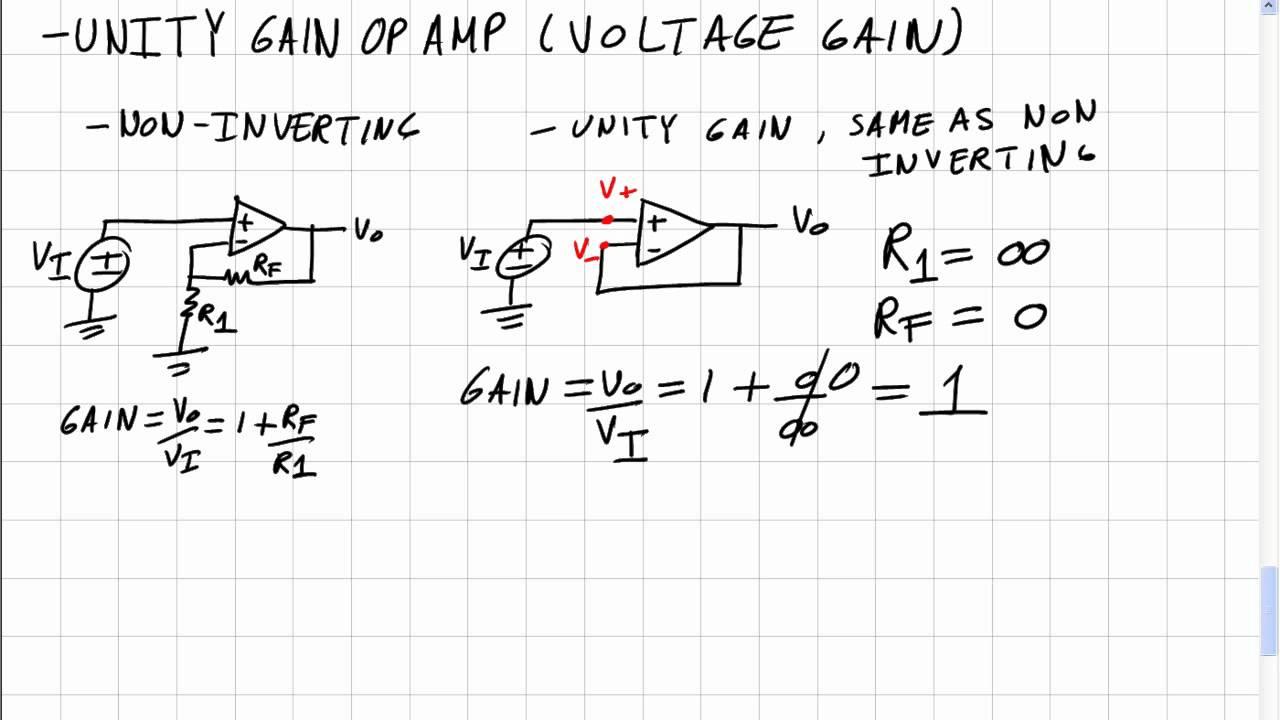 Op-amps 4: Unity Gain Amplifier Voltage Gain Derivation