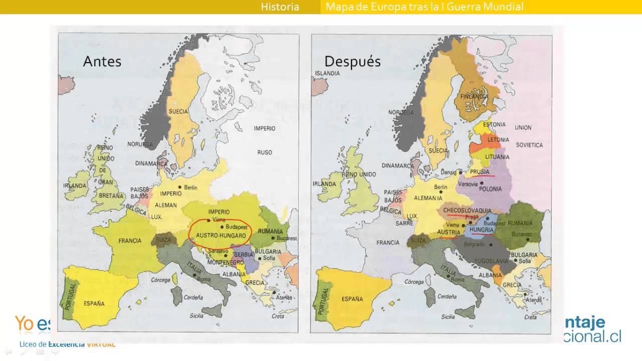 Mapa De Europa Tras La I Guerra Mundial Youtube