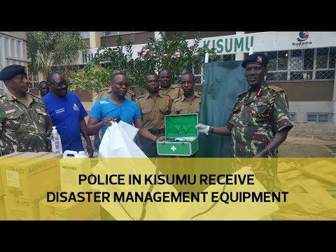 Police in Kisumu receive disaster management equipment