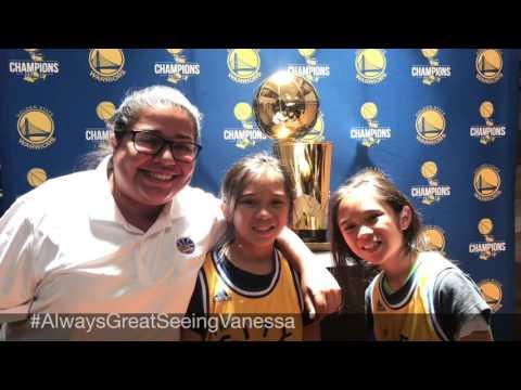 AmeliaAndAdinah with the NBA Warriors Championship Larry O