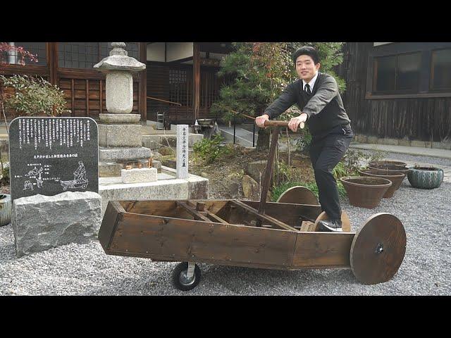 江戸時代の三輪車を復元 高校生がホームセンター材料で