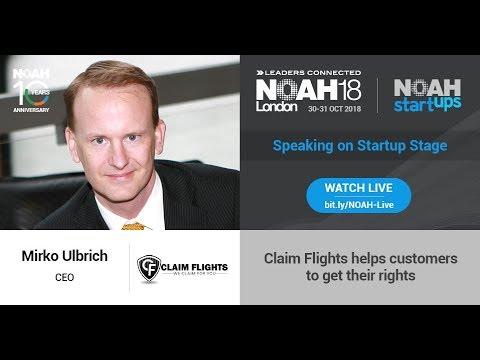 NOAH18 LONDON Startups Claim Flights was choosen among 800 a