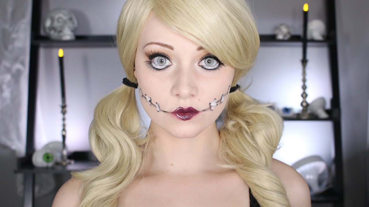Halloween Doll Makeup Tutorial | No Body Paint Needed! - YouTube
