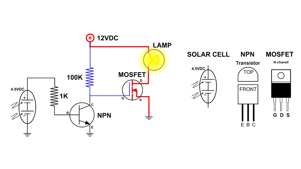 Auto On Off Light Switch Using A Solar Cell