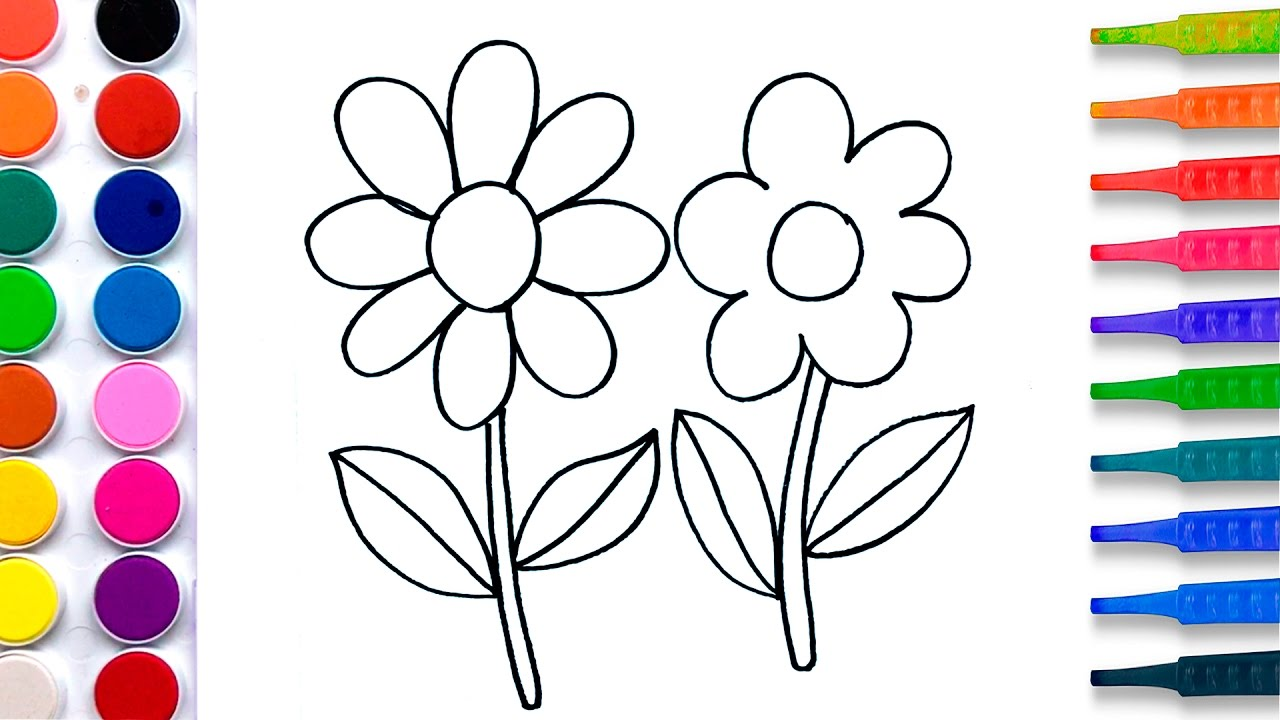 flowers coloring pages salt painting for kids fun art learning colors video for children - Colour Painting For Kids