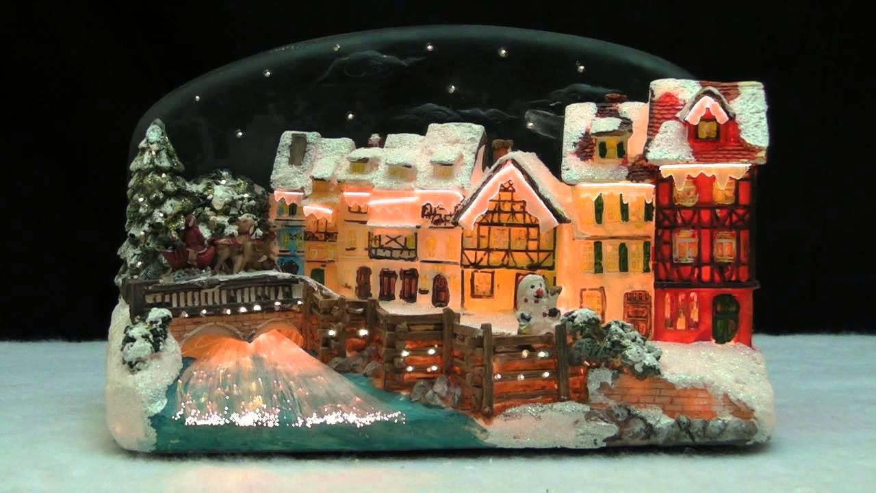 Christmas Village House with Santa Claus on a Sleigh LED Fiber ...