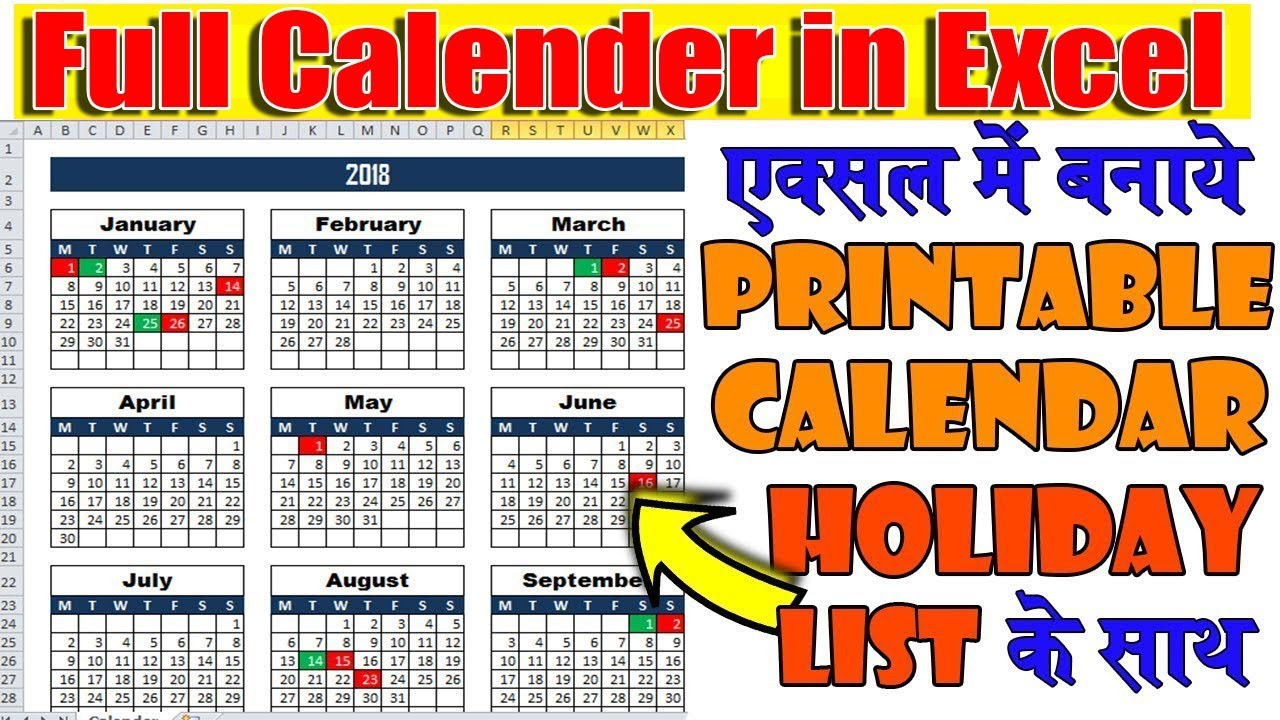 Calendar Planner Maker : Create new year calendar in excel with automatic date