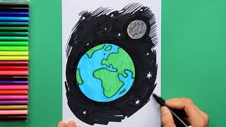 How to draw and color Life on Planet Earth from Space