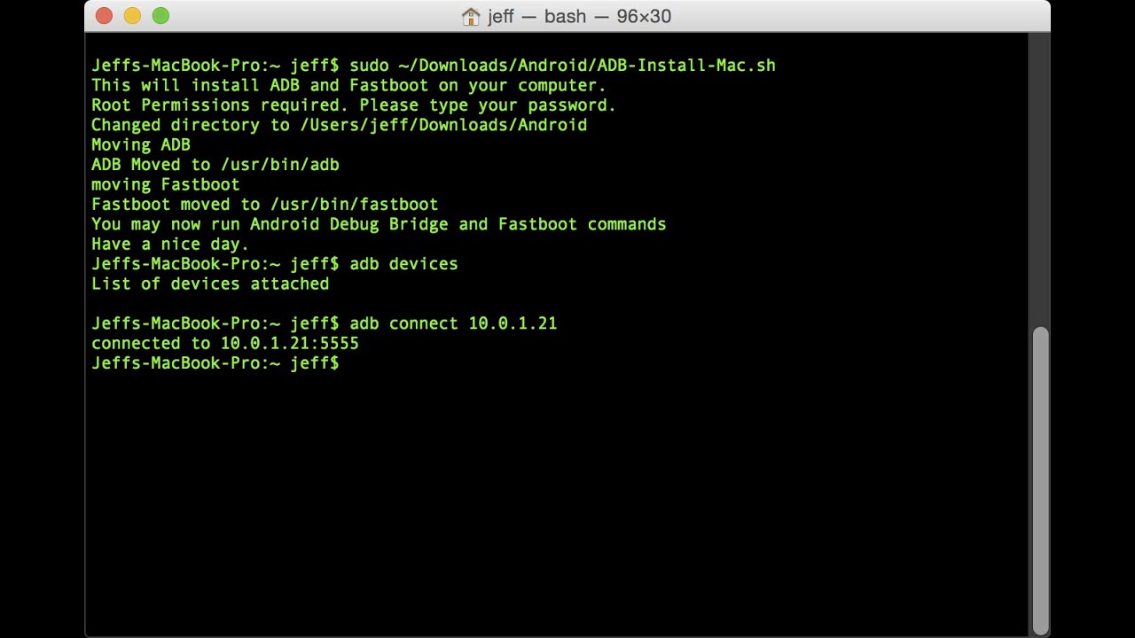 How to install ADB on Mac OS X
