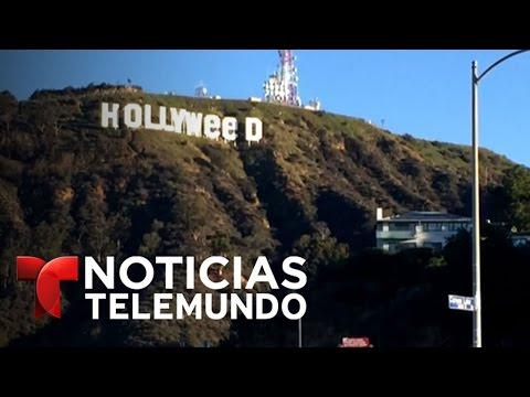 Famoso letrero de Hollywood amanece tuneado | Noticiero | Noticias Telemundo