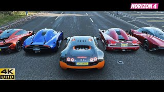Forza Horizon 4 Top 22 Speed Stock Hypercars Drag Race | New Experiment