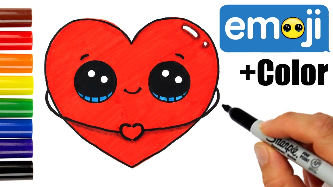 How To Draw Color A Heart Emoji Step By Step Easy And Cute Youtube