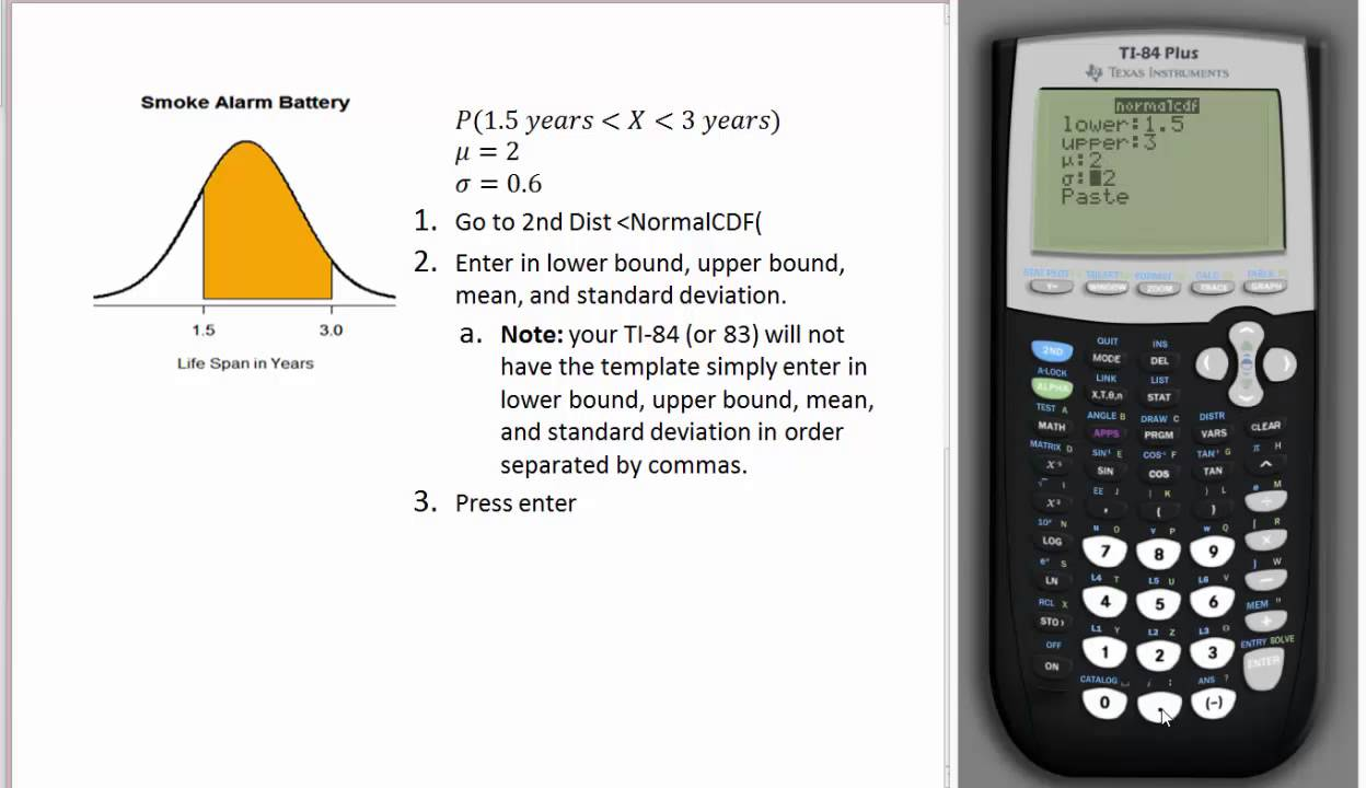 Battery Life Span Exam Finding A Proportion Using The Ti84 Normalcdfmand  How To Find The Standard Deviation