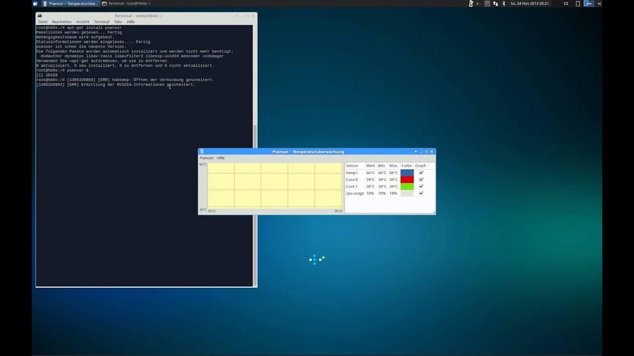 Monitor Hardware Temperature (CPU,HDD,Graphic Card) on Ubuntu Linux