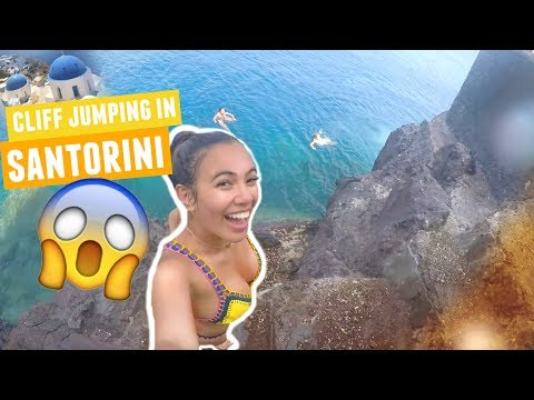 CLIFF JUMPING IN SANTORINI | Greece Traveling Day 8!