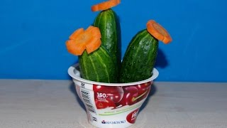 Кактусы из огурцов и моркови. Как сделать осенние поделки из овощей в детский сад и школу.