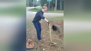 Crazy Cop Catches Anaconda With Her Bare Hands