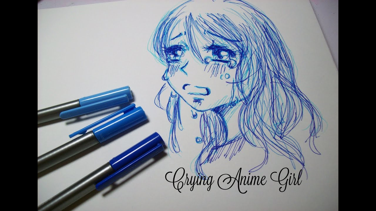 crying anime girl speed drawing ink blue pens youtube