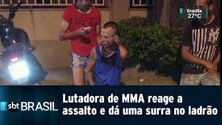 Lutadora de MMA reage a assalto no Rio de Janeiro e dá uma surra no ladrão   SBT Brasil (07/01/19)