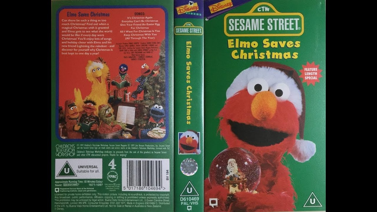 sesame street elmo saves christmas 1997 uk vhs - Sesame Street Elmo Saves Christmas