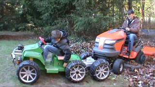 Dad gets tractor stuck and gets rescued by a kid!