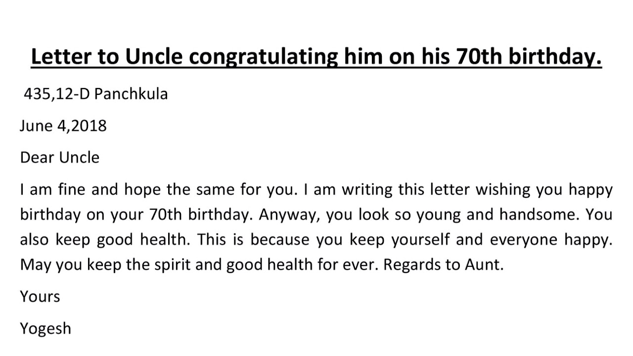 letter to uncle congratulating him on his 70 birthday