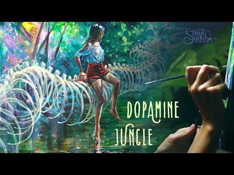 DOPAMINE JUNGLE. Surreal tropical painting process.