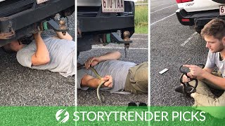 Snake Falls On Stunned Rescuers Face