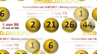 Eurojackpot Gewinnzahlen Ziehung vom Freitag 13.01.2017; Jackpot nicht geknackt
