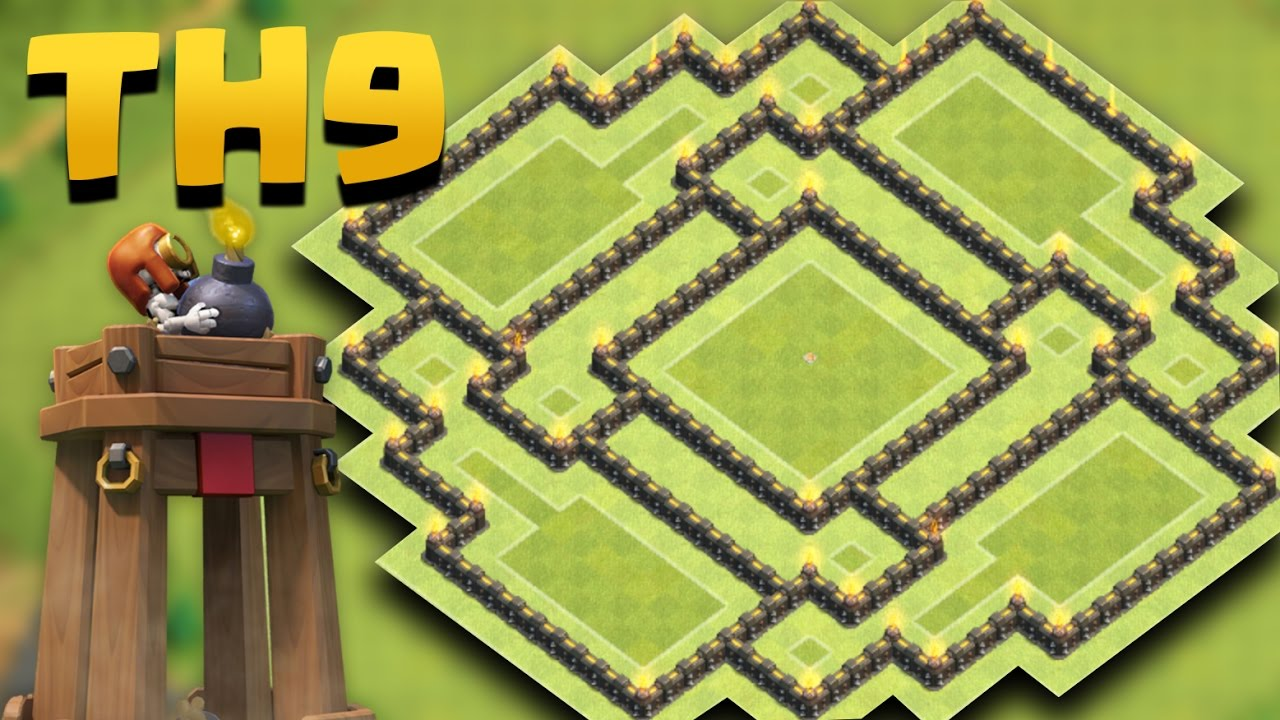 Town hall 9 best farming base new update bomb tower th9 anti giant