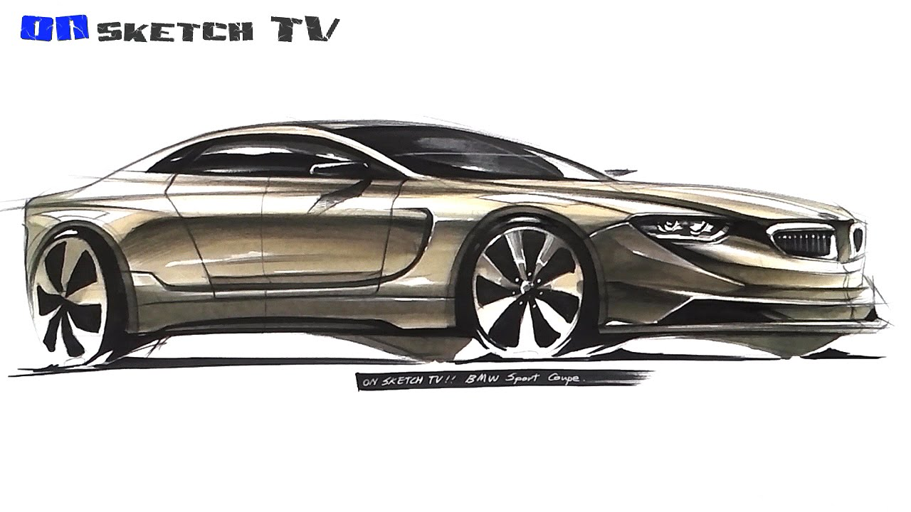 온스케치 Tv Car Sketch Bmw Sport Coupe Sketch Color Pencil Ad