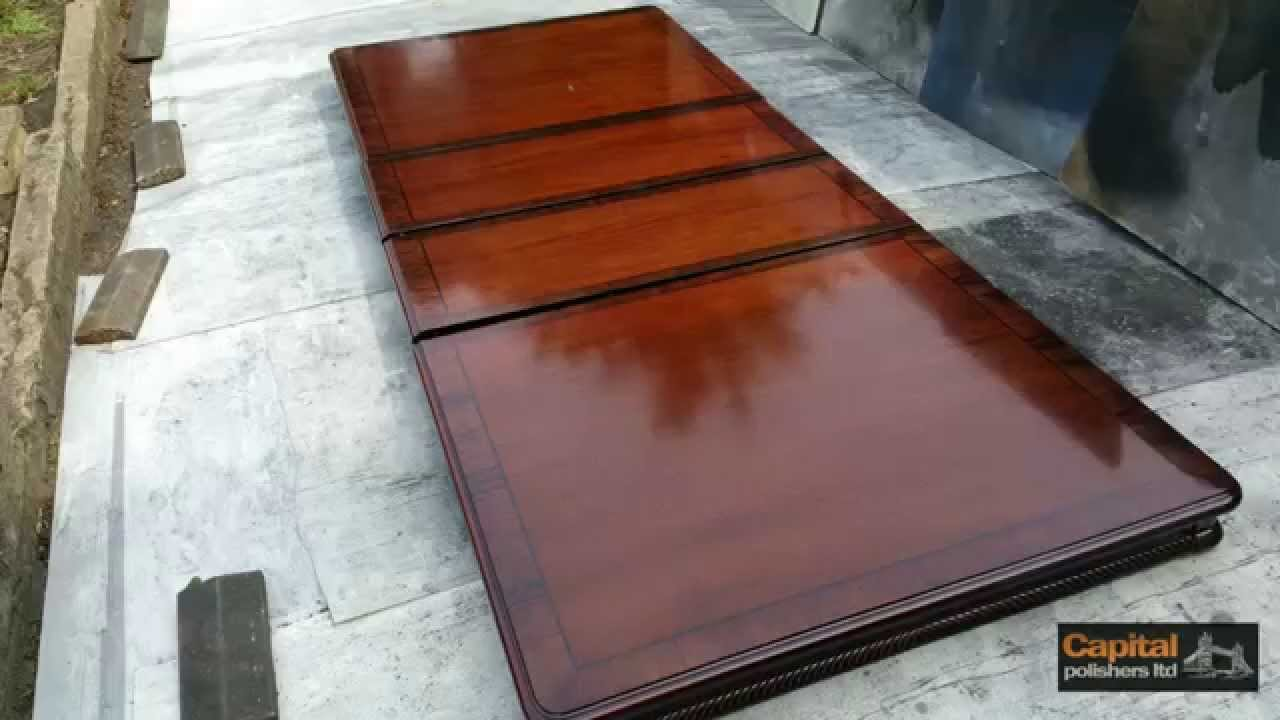 high gloss table - acid polished lacquer, refinishing veneered