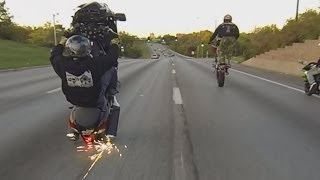 HAYABUSA Motorcycle STUNTS On Highway WHEELIES + DRIFTING BUSA GSXR 1300 Street Bike Stunt Riding