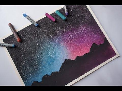 COMO PINTAR UN PAISAJE ESTRELLADO    FÁCIL    Tizas pastel    Pasteles secos    Speed Drawing