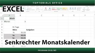 Dynamischer senkrechter Monatskalender in Excel + Download