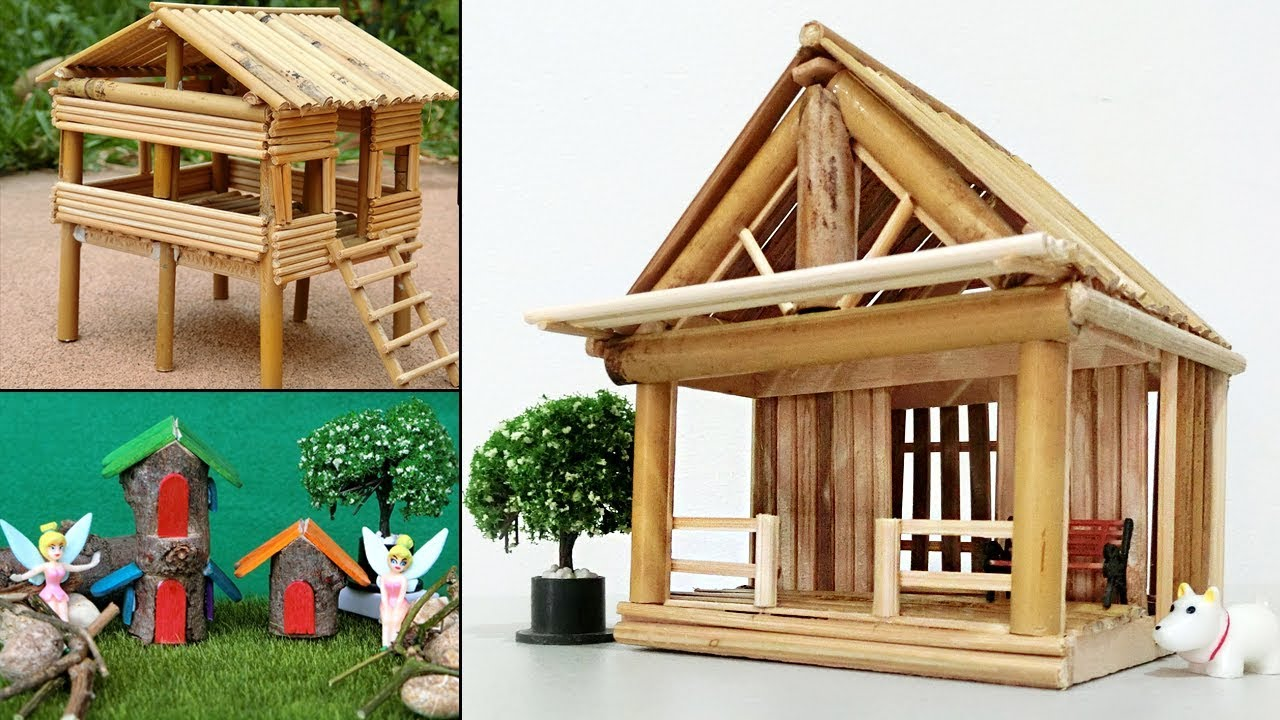 5 Easy Handmade Miniature Wooden Bamboo Stick House 26 Diy