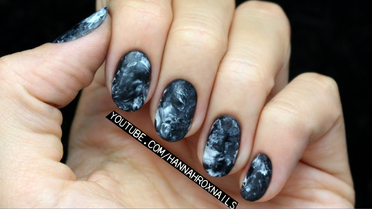 Smoky Marble Nails No Water Needed Easy Youtube