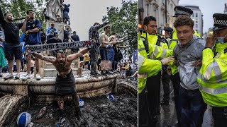 video: Football fans arrested as Tartan Army takes over London