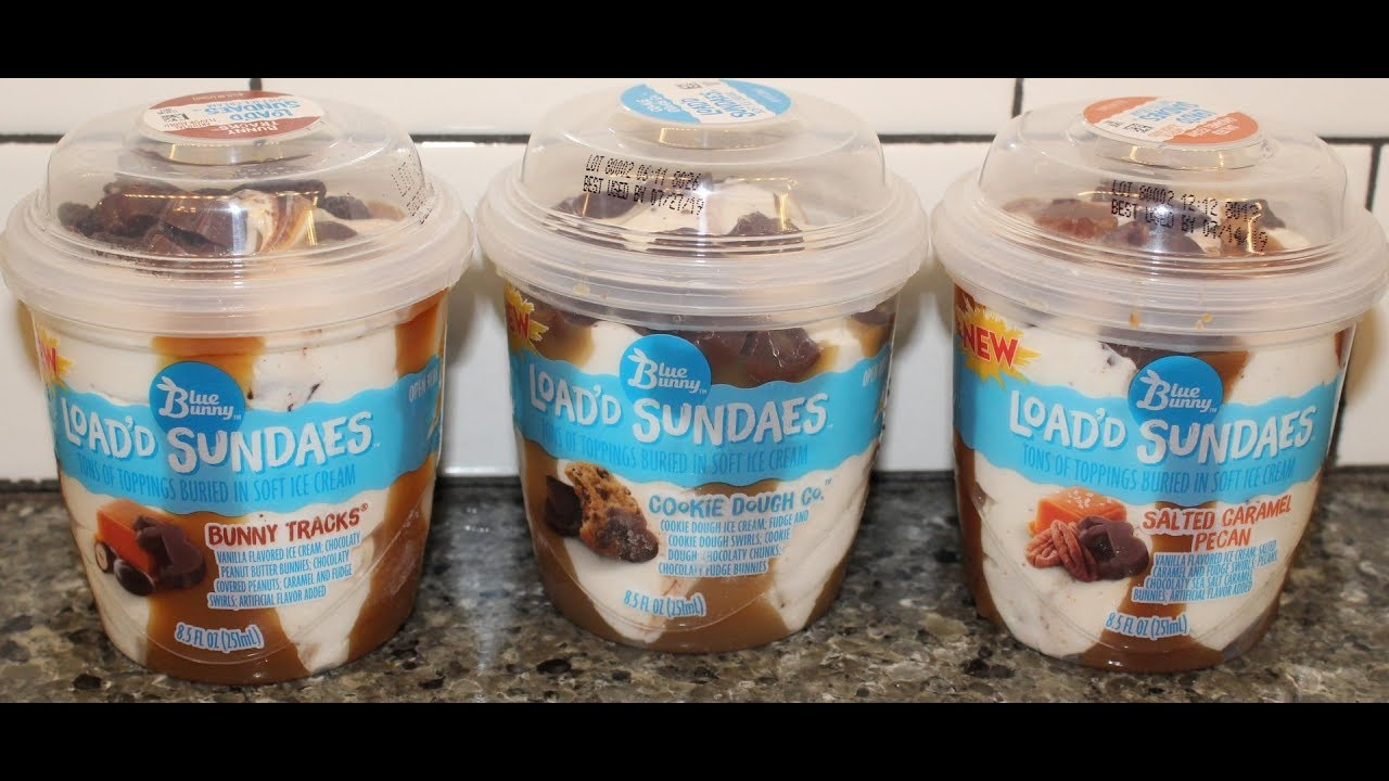 Blue Bunny Load D Sundaes Bunny Tracks Cookie Dough Co Salted Caramel Pecan Review