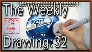 Weekly Drawing 32: Drawing Seahawk Helmet // NFL Super Bowl XLIX //