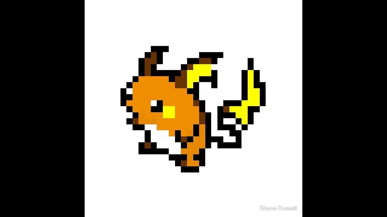 Step By Step How To Draw Raichu Pokemon Pixel Art Youtube