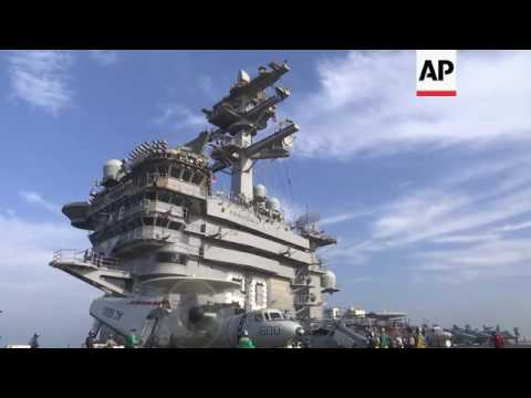 Life onboard US aircraft carrier in Persian Gulf