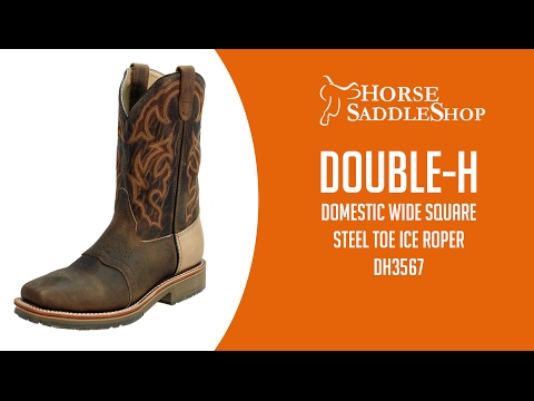 Double-H Men's Steel Toe Domestic Wide Square Toe ICE Roper Boots DH3567